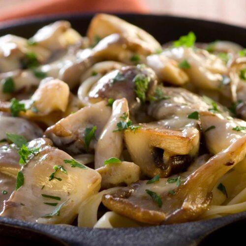 A delicious and vegan mushroom stroganoff