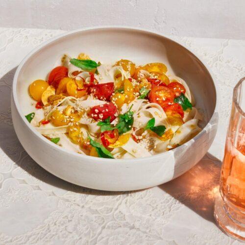 Rice Noodles al Pomodoro with Chili Oil
